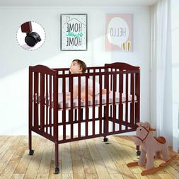 2 in 1 Wood Baby Crib Coffee Toddler Bed Convertible Nursery
