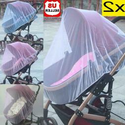 2x Universal Baby Stroller Mosquito Insect Net Cover Fit Pra