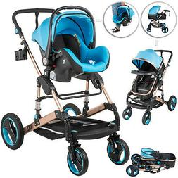 3 In 1 Foldable Baby Stroller High View Pram Pushchair Bassi