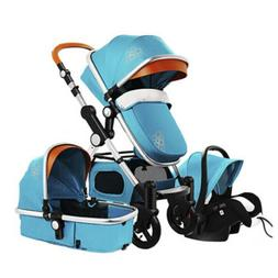 3 In 1 Foldable Baby Stroller Pram Pushchair Bassinet Car Se