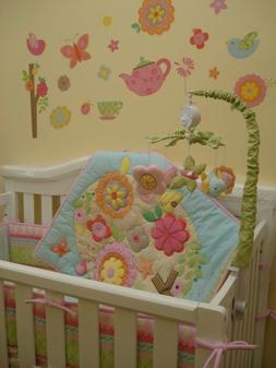 7pcs Girls Baby <font><b>Bedding</b></font> Set Elephant Bir