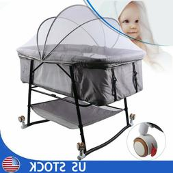 Baby Bassinet and Cradle Portable Infant Crib Bed Newborn Sl