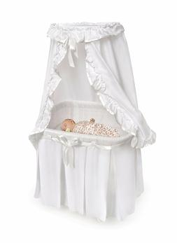 Baby Bassinet Sleep Majesty Ruffle Canopy White Bedding Rock