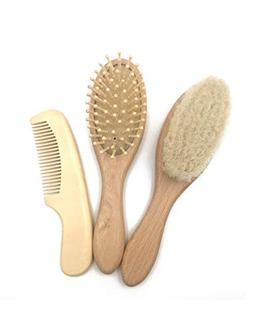 Carelax for Baby Brush Comb Sets Wool Hair Silk Wood Comb Gi
