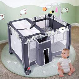 Costzon Baby Playard, Convertible Playpen with Bassinet, Cha