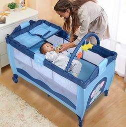 Baby Safety Newborn Bassinet Folding Cradle Crib Infant Nurs