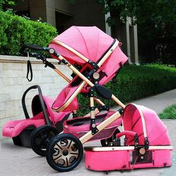 Baby Stroller 3 in 1 High view Pram foldable travel pushchai