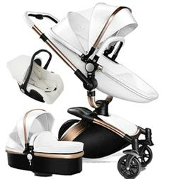 Baby stroller 3 in 1 leather travel system Foldable Pram pus