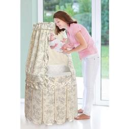 Badger Basket Majesty Baby Bassinet with Canopy, Ecru and Bl