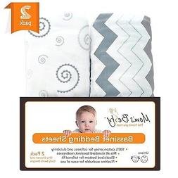 Bassinet Sheet Set - 2 Pack Jersey Cotton Fitted Sheets - Gr