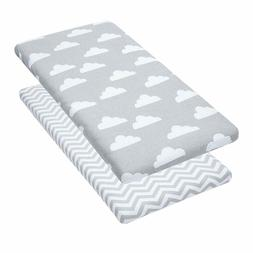 Bassinet Sheets, 2 Pack Clouds/Chevron Fitted Soft Jersey Co