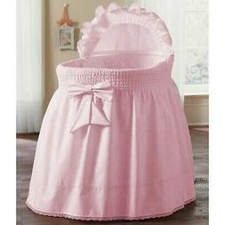 Brand New aBaby Smocked Bassinet Skirt, Pink, Small