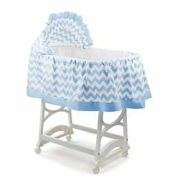 aBaby Chevron Short Bassinet Skirt, Blue, Small