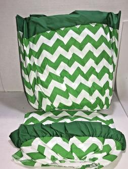 aBaby Chevron Short Bassinet Skirt, green, Small