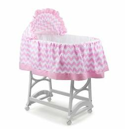 aBaby Chevron Short Bassinet Skirt, Pink, Large