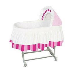 aBaby Color Block Bassinet Skirt, Pink/Fuchsia/White, Large