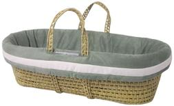 Baby Doll Bedding Zuma Moses Basket Set, Seafoam