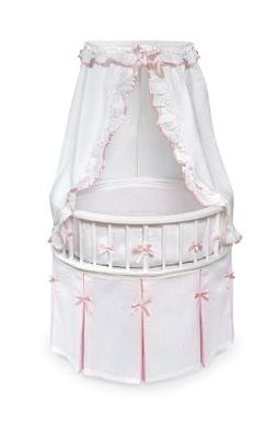 White Elegance Round Baby Bassinet - White/Pink Bedding