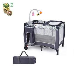 Foldable Travel Baby Crib Playpen Infant Bassinet Bed w/Carr