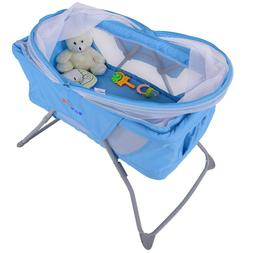 Foldable Lightweight Baby Bassinet Rocking Bed with Mosquito