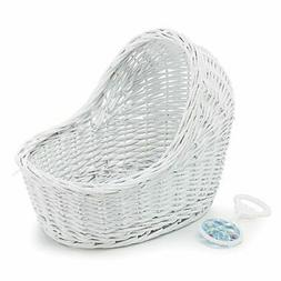 Burton & Burton Baby Gift Bassinet White Wicker