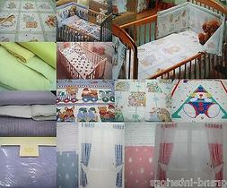 JUNIOR BABY TODDLER COT DUVET COVER BEDDING OR CURTAINS BLAN