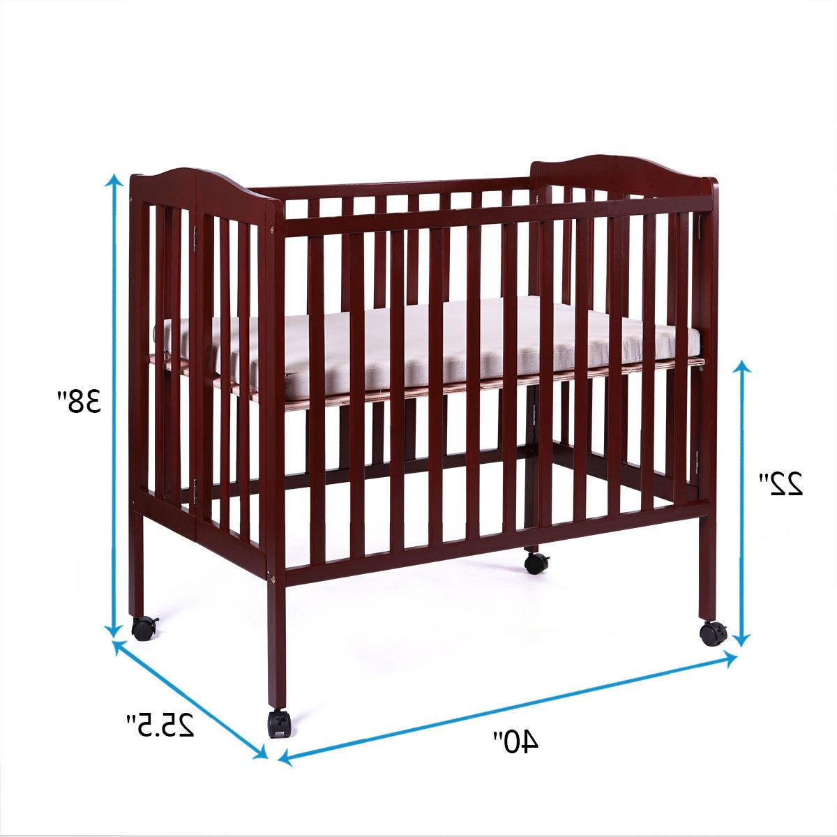 2 Baby Crib Toddler Bed Convertible Foldable