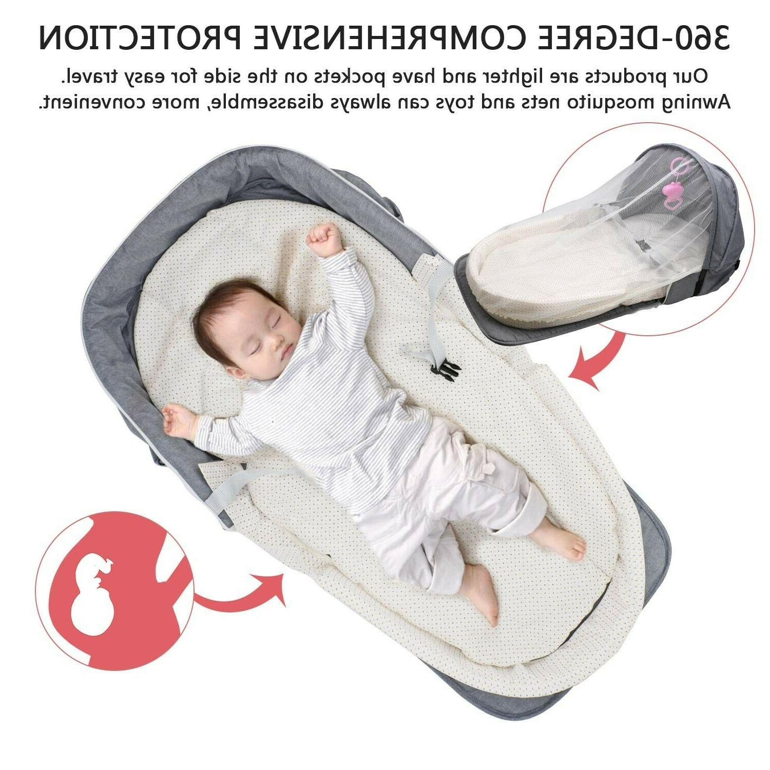 4 Baby Bed Infant Sleeper With Awning & Mosquito Net For Baby