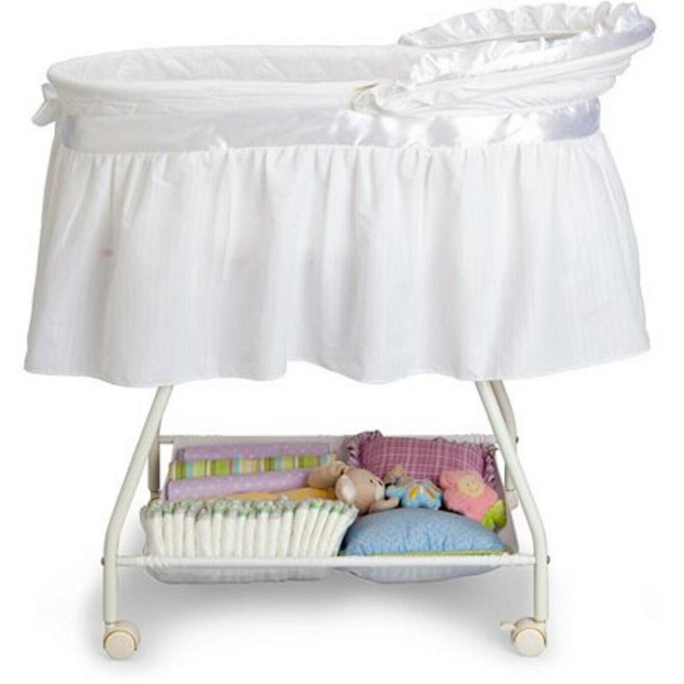 Baby Bassinet Portable White Moses Basket