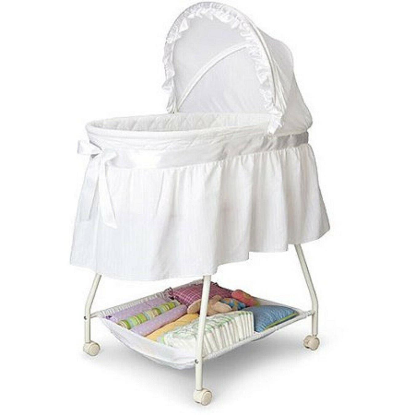 Baby Newborn Cradle Portable White Moses Basket