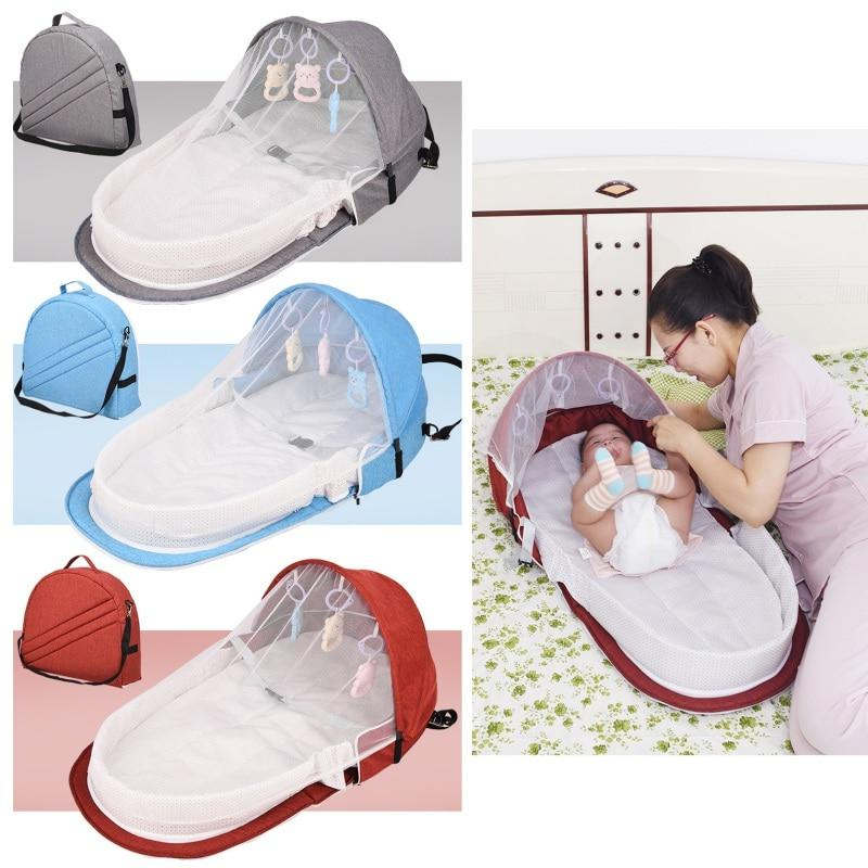 Portable Bed With Toys For Baby Foldable Baby Bed Travel Sun