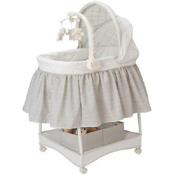 Deluxe Gliding Baby Bassinet, Silver Lining w/ Electronic Mo