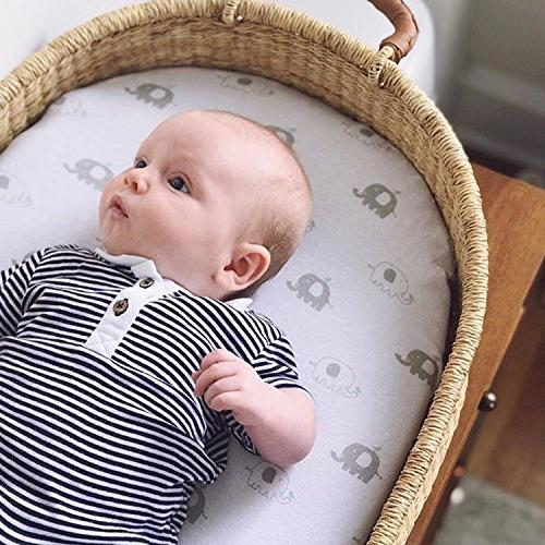 Bassinet Sheets 2 Pack for Boy & Girl   & 100% Jersey Fitted Design   Mint Grey Chevron & Oval, Halo, Chicco Arms Reach