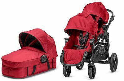 Baby Twin Double Stroller Red with Bassinet