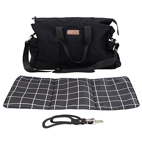 double satchel grid black white