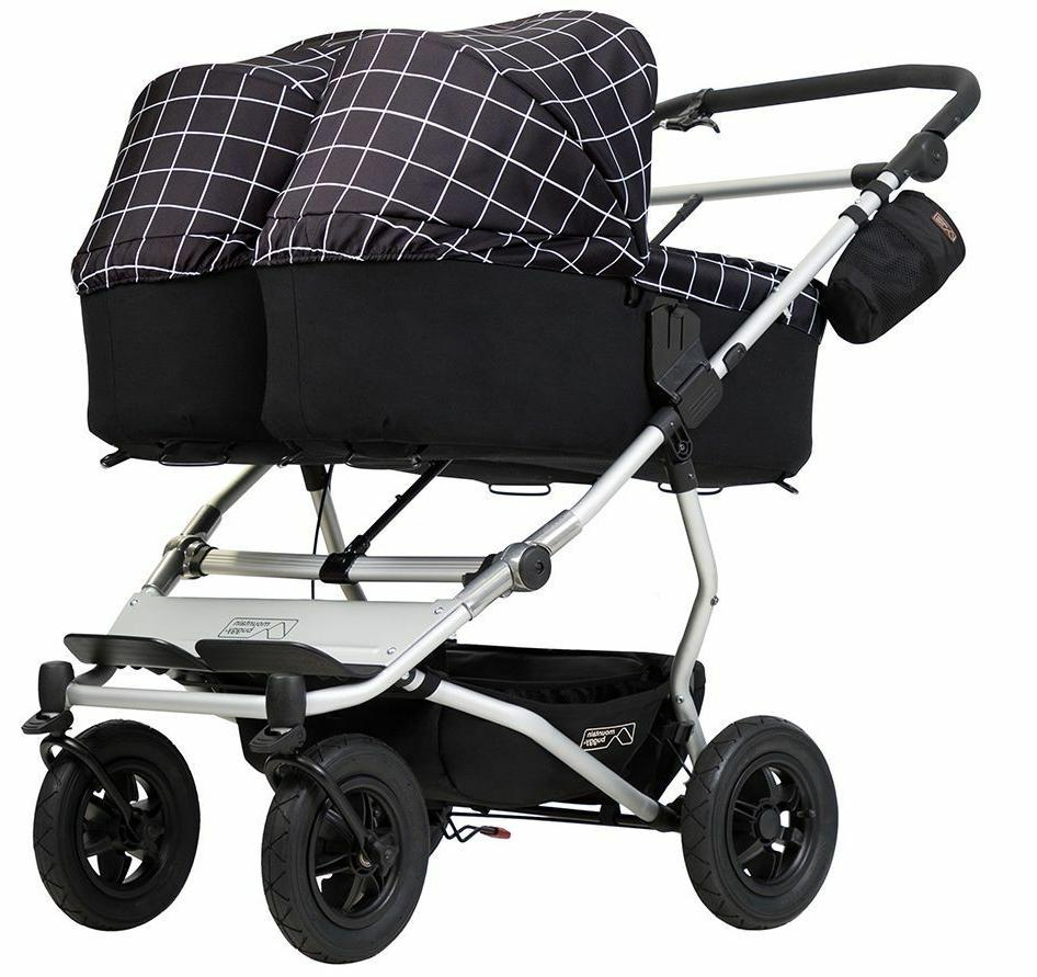 Mountain Compact All Terrain Twin Baby Double Stroller Silver
