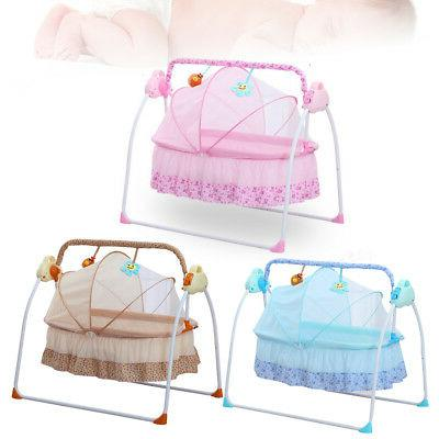 Electric Baby Crib Cradle Auto Rocking Chair Newborns Bassin