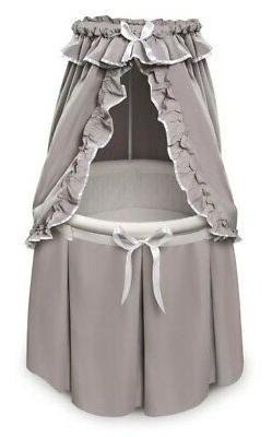 Empress Round Baby Bassinet with Canopy - Gray/White