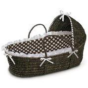 Espresso Hooded Moses Basket Brown Dot by Badger Basket