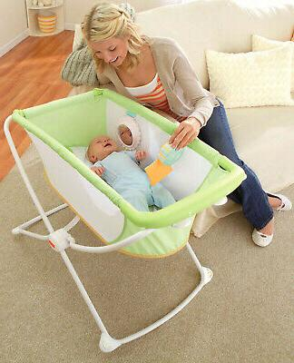 Fisher Price with Me Portable Infant Bassinet w/ Play Toy, Green