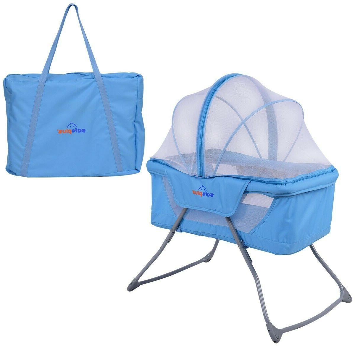Foldable Lightweight Rocking Bed with Net