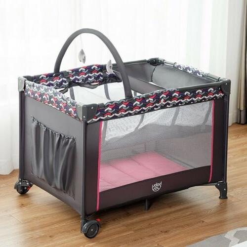 folding travel baby crib playpen playard pack