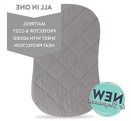 Jersey Quilted Waterproof Hourglass/Oval Bassinet All in and Bassinet Pad Cover with Heat by & Co.