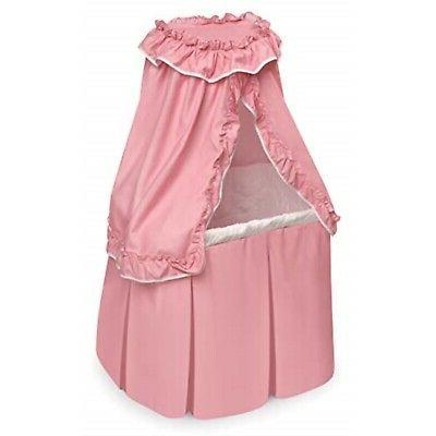 Badger Basket Kisses Rocking Doll Bassinet , Pink