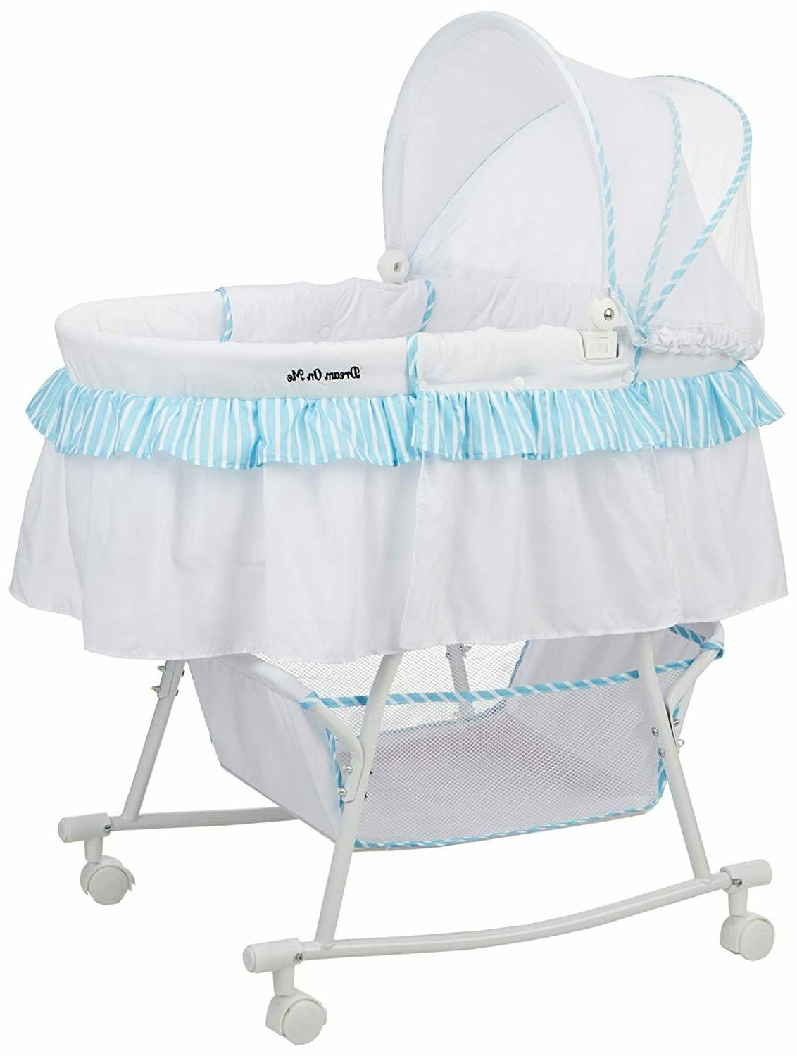lacy portable 2 in 1 bassinet blue