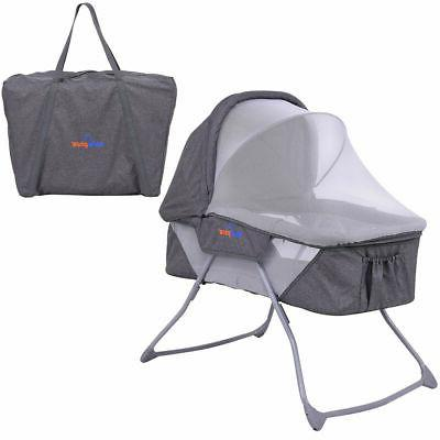 lightweight foldable baby bassinet rocking bed canopy