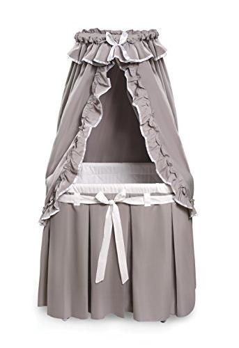 Badger Basket Majesty Baby Bassinet with Canopy, Gray and