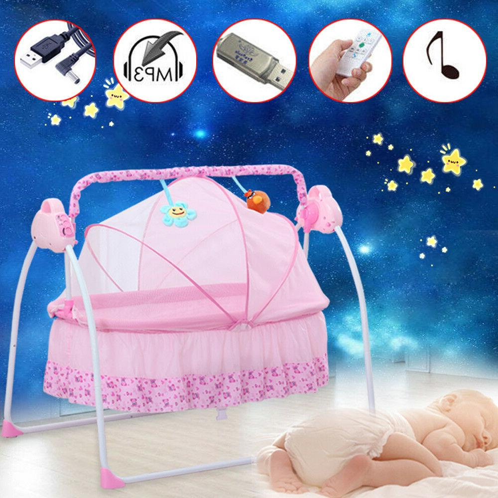 Pink Electric Baby Crib Cradle Auto-Swing Newborns Bassinets