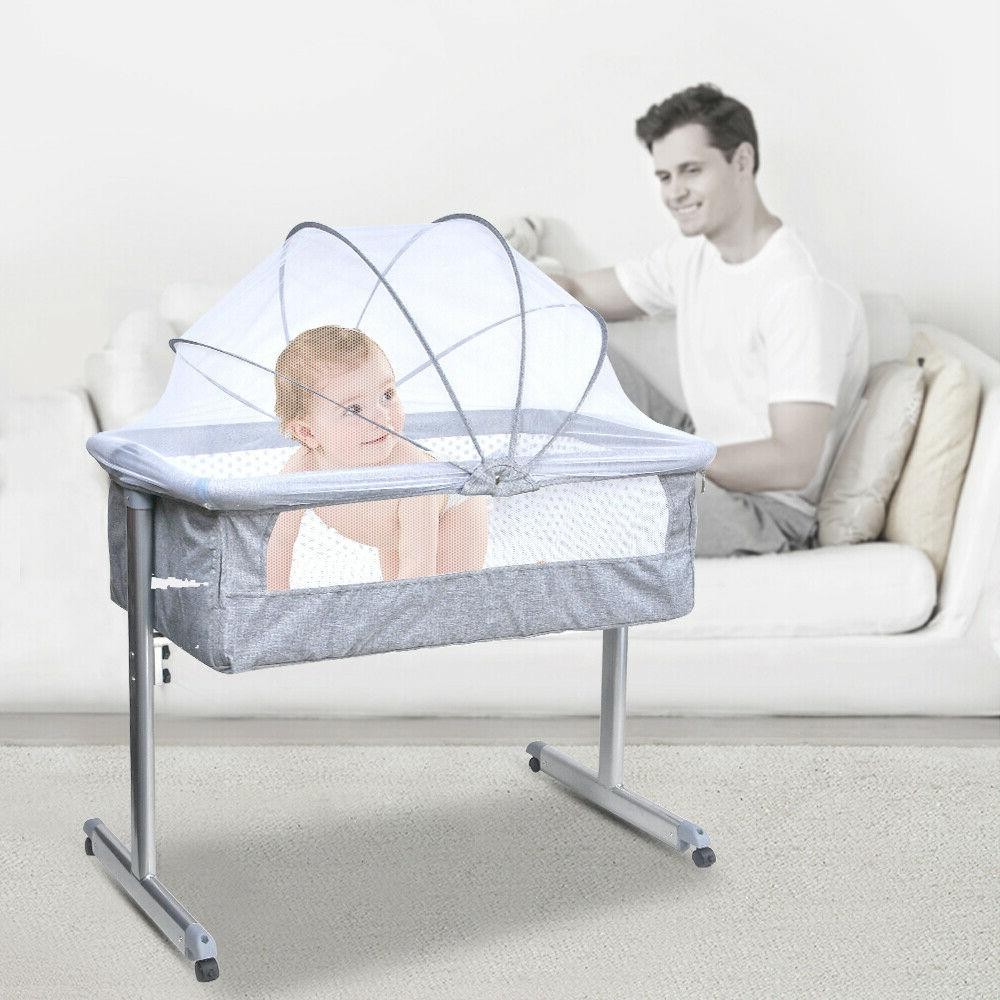 Portable Side Sleeper Infant Crib Grey