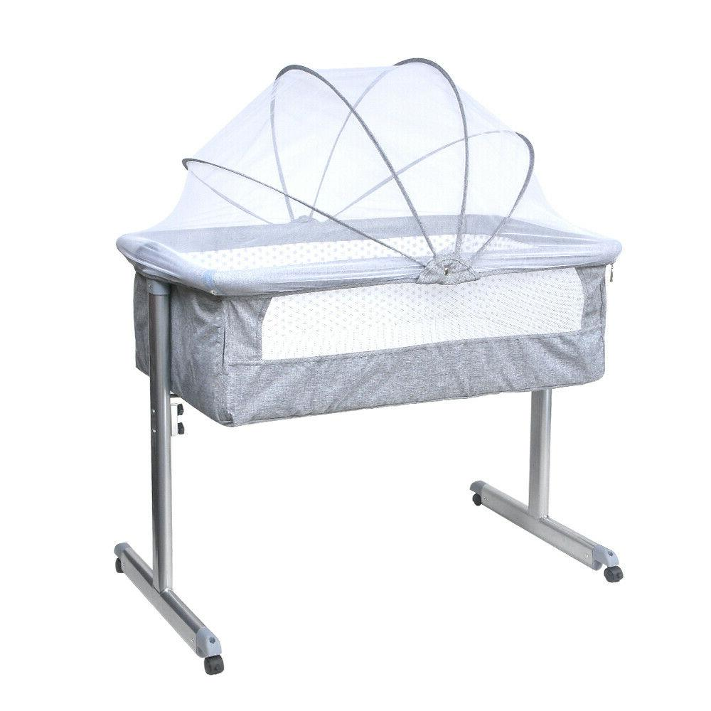 Portable Baby Bed Side Sleeper Travel Bassinet Crib Grey New